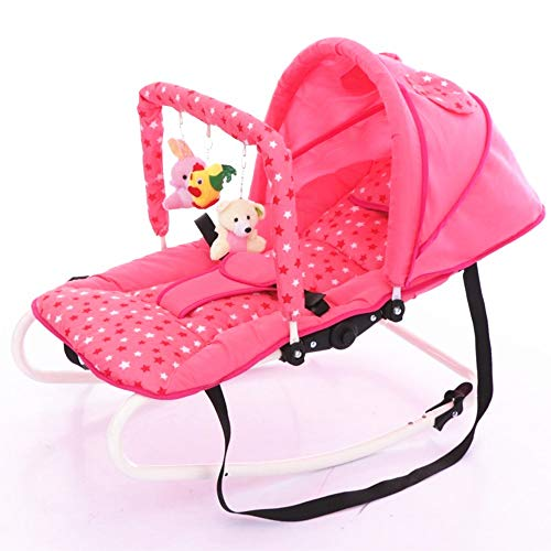 YYBABY Baby Rocking Chair Baby Cradle Recliner Swing Comfortable Chair Children's Shaker Seat Sleepy Supplies Folding Rocking Chair Cradle Newborn Baby Gift Comfortable and Soft (Color : Pink)  YYBABY