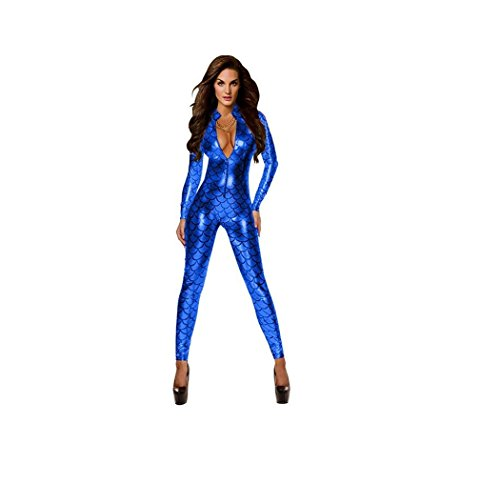 Kostüm Erwachsene Tintenfisch Für - GGTBOUTIQUE Damen Metallic Fisch-Skala-Muster-Overall Playsuit Catsuit Bodysuit Clubwear Kostüm (Medium, Blau)