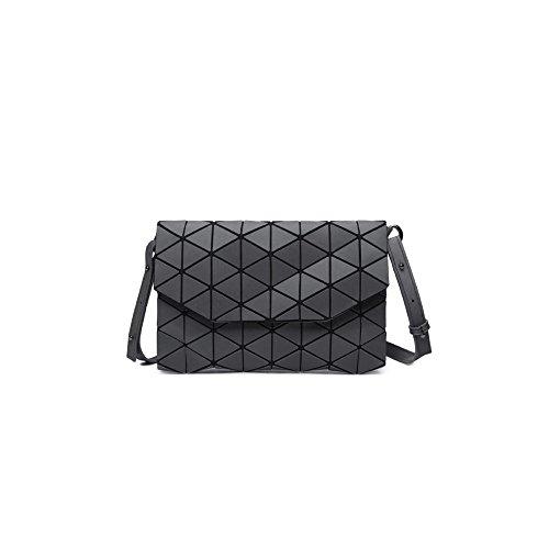 Frauen PU Leder Umschlag Schulter Messenger Bag Rhombus Muster Mode Geometrische Tasche Pailletten Clutch Handtaschen,Gray-OneSize (- Schicke Messenger)
