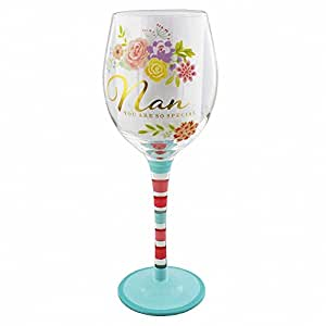 In Fiore Carino Floreale & Oro Festa Della Mamma Day, Compleanno Bicchiere Vino Regalo - Nonna