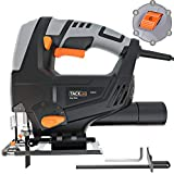 TACKLIFE 570W 3000SPM Jigsaw, 4-Position Orbital Action, Cutting Wood 65mm/Metal 8mm, Adjustable Speed (1-6 dial), Bevel Angle (0°-45°), Dust Extraction, 3 Meter Power Cord - PJS03A