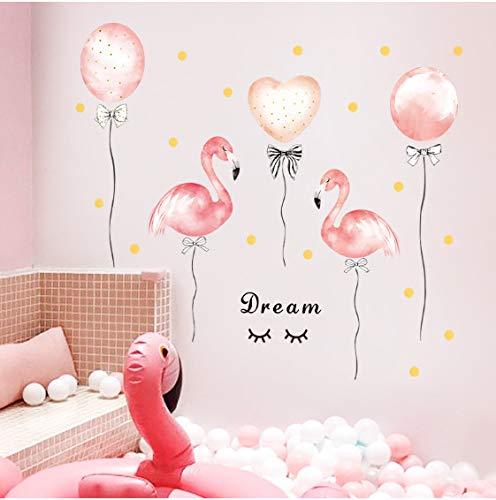 floolter Schlafsaal Mädchen Raumdekoration Flamingo Ballon rosa Wandaufkleber warm Schlafzimmer Wohnkultur DIY Selbstklebende Kleiderschrank Aufkleber 94X118CM