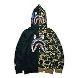Manbozix Herren Patchwork Vollreißverscluss Camouflage Kapuzenpullover Hooded Sweatshirt Kapuzenjacke Shark Hoodie Schwarz/Camo S