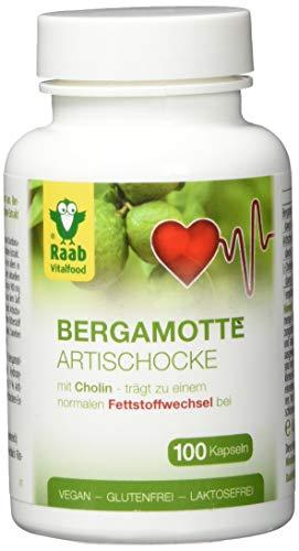 Raab Vitalfood Bergamotte Artischocken Kapseln, 100 Stück, hochdosiert aus Extrakt, Flavonoide, Cynarin, Cholin, vegan, laborgeprüft in Deutschland