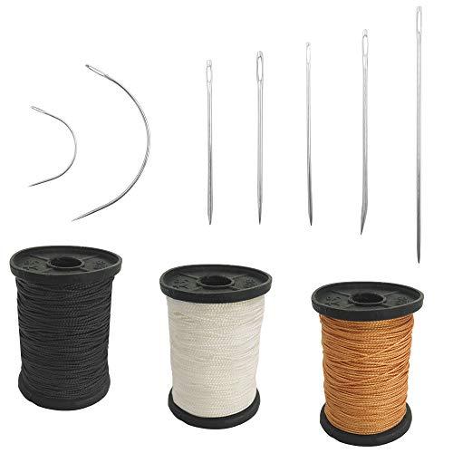 Juego de 17 agujas de mano resistentes para el hogar y hilo de tapicería extra fuerte, 7 estilos de agujas de coser de lona de cuero y 3 colores de hilo de nailon (50 yardas)