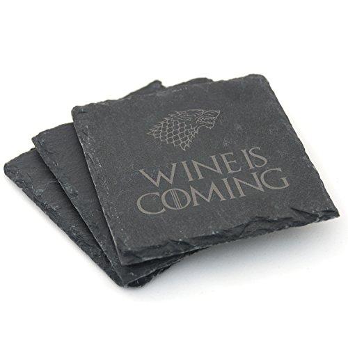 Naturschiefer-Untersetzer, Motiv: Game of Thrones, 2er-/ 4er-Set, Geschenkidee, Schiefer, Wine is Coming, 2er-Set