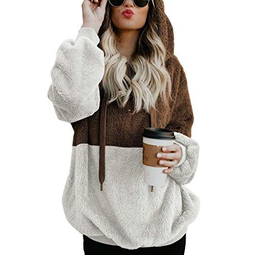 Rv-damen-sweatshirt (Kapuzenpullover Damen SummerRio Hoodie Langarm Sweatshirt Lässige Patchwork Tunnelzug Front-RV 4 Farben M-XXL (XXL, Dark Koffee))