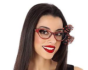 Atosa-62921 Atosa-62921 - Accesorio para disfraz Pop/Rock/Filmstar-Gafas de estrás para adulto, unisex, color rojo, talla única