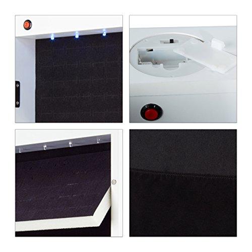 Relaxdays Schmuckschrank Spiegel zum Stellen, Schmuckkasten abschließbar, Spiegelschrank LED, HBT: 151x46x36,5 cm, weiß - 8