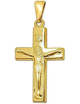 CLEVER SCHMUCK Goldener Anhänger Jesus Kreuz 21 mm, breite Balken, schlicht und glänzend 333 GOLD 8 Karat