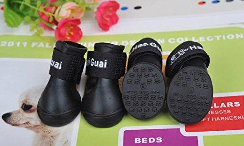 jjyoga Wasserdicht Pet Hund Stiefel für kleine bis mittelgroße Hunde Schuhe 4PCS (L, schwarz)