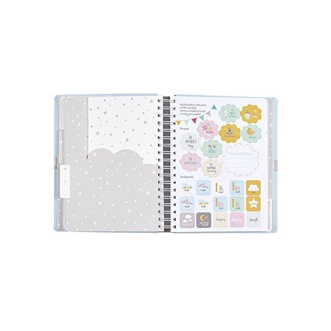 """Busy B /""""Baby B/"""" diario del neonato con tasche e adesivi"""