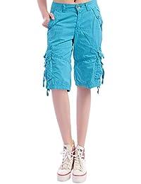 Minetom Donna Pantaloncini Bermuda Estivi Moda Casuale Comode Sciolto Taglie  Forti Shorts Basic Carico Multi Tasche 03229836abb