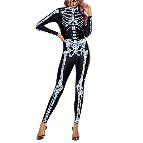 Suit Erwachsene Skin Kostüm Für Skelett - Frestepvie Damen Jumpsuit Skelett Overall Muskel Romper Rose Bodysuit Blut Halloween Party Kostüm