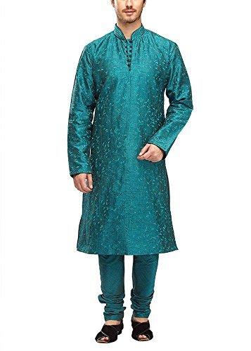 Manyavar Men's Silk Kurta Pyjama (8903035279132_S952342-344-S_Blue)