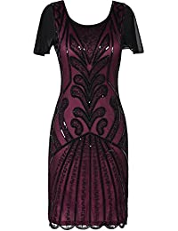PrettyGuide Women's Flapper Dress 1920s Vintage Bead Deco Inspired Cocktail Gatsby Dress