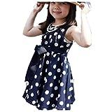 Vovotrade 1PC Kinder Kinder Kleidung Tupfen-Mädchen Chiffon Sommerkleid Kleid (Blau, Size:120 cm)