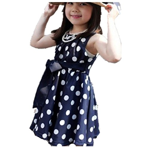 Blau Lila Und Kind Tutu (Vovotrade 1PC Kinder Kinder Kleidung Tupfen-Mädchen Chiffon Sommerkleid Kleid (Blau, Size:140)