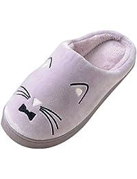 3327ac540c29ee Chaussons Homme Femme Peluche Douce Chaud Pantoufles Confortable Accueil  Slippers Mignon Chat Maison Chaussures