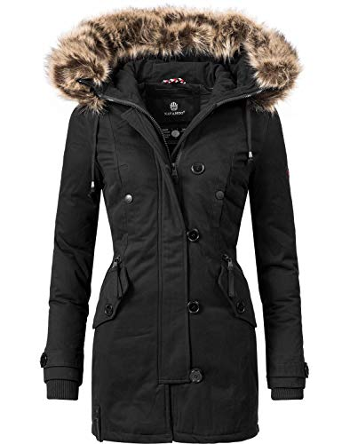 Navahoo Damen Baumwoll Winterparka Winterjacke Pauline (vegan hergestellt) Schwarz Gr. XL - Eskimo Pelz Parka