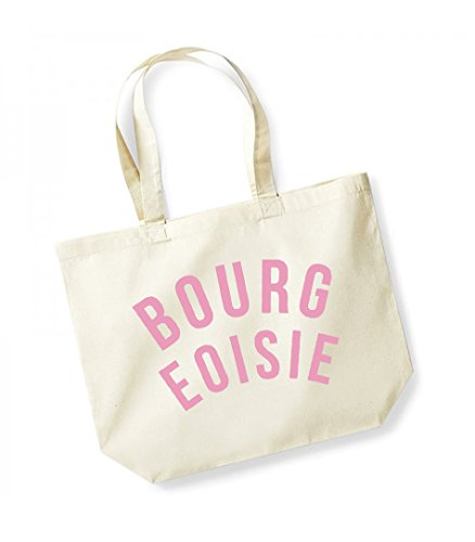 Bourgeoisie - Large Canvas Fun Slogan Tote Bag Natural/Pink