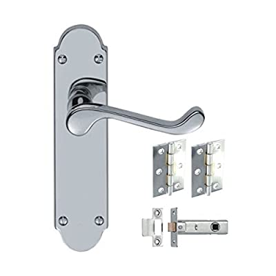 8 x Sets Epsom Style Door Handles with Hinges and Latches - Polished Chrome