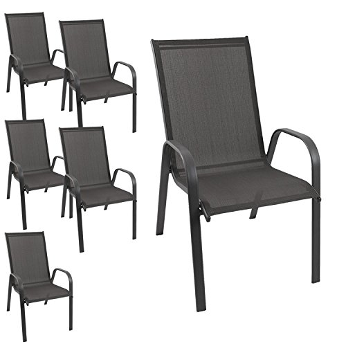 6 Stück Gartenstuhl stapelbar Gartensessel Stapelstuhl Stapelsessel Stahlgestell pulverbeschichtet mit Textilenbespannung Gartenmöbel Terrassenmöbel Balkonmöbel