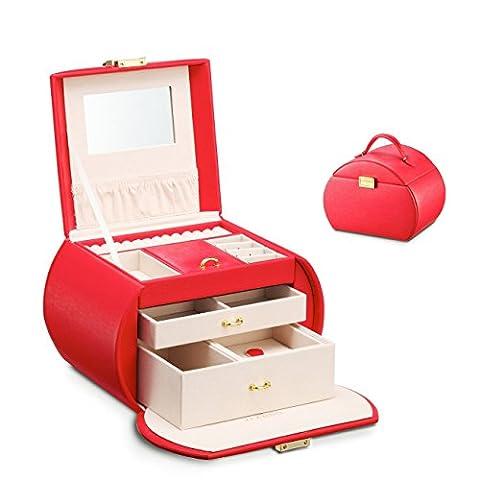 Vlando Faux-Leder-Schmuck-Box Halskette Ohrringe Ringe Abschließbare Aufbewahrungskoffer mit Spiegel und Speicherfächer(Red (New))