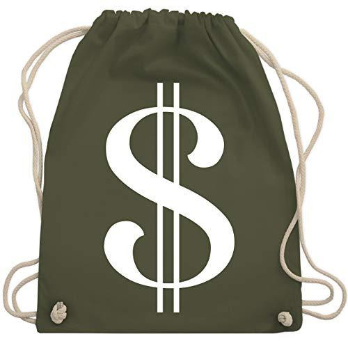 Karneval & Fasching - Dollar Kostüm weiß - Unisize - Olivgrün - WM110 - Turnbeutel & Gym Bag