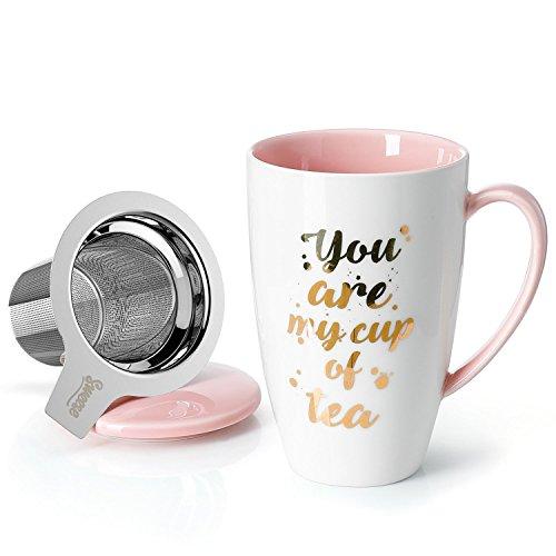 mit Deckel und Sieb, Becher aus Porzellan für Losen Tee Oder Beutel, Gold Worte weiß/Rosa, 400 ml ()