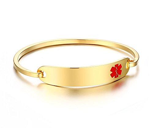 Vnox Herren Edelstahl personalisierte medizinische Alert ID Tag Armreif 65mm Durchmesser Gold,kostenlose Gravur (14k Gold Medical Alert Armband)