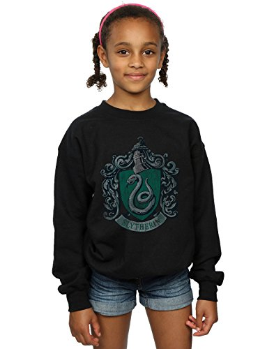 Harry Potter Mädchen Slytherin Distressed Crest Sweatshirt 12-13 years Schwarz (Slytherin Hat)