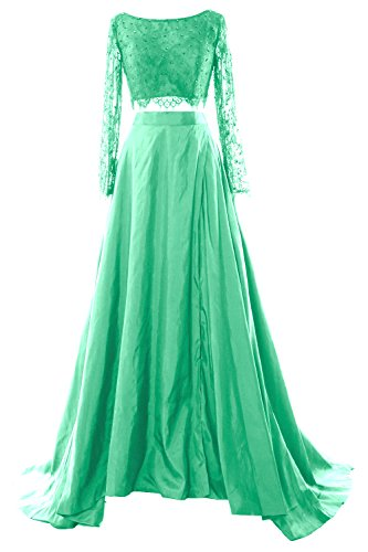 MACloth Women 2 Piece Long Sleeve Lace Maxi Prom Dress 2017 Formal Evening Gown Minze