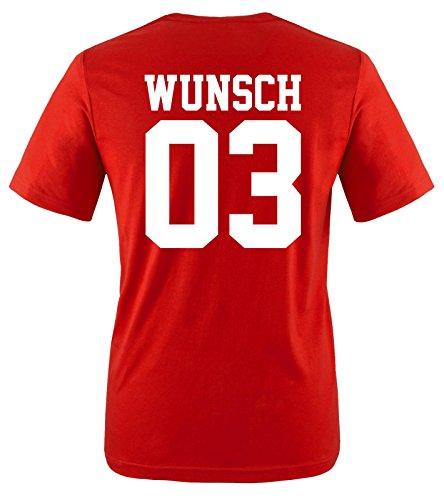 Comedy Shirts - Wunsch - Herren T-Shirt - Rot/Weiss Gr. L