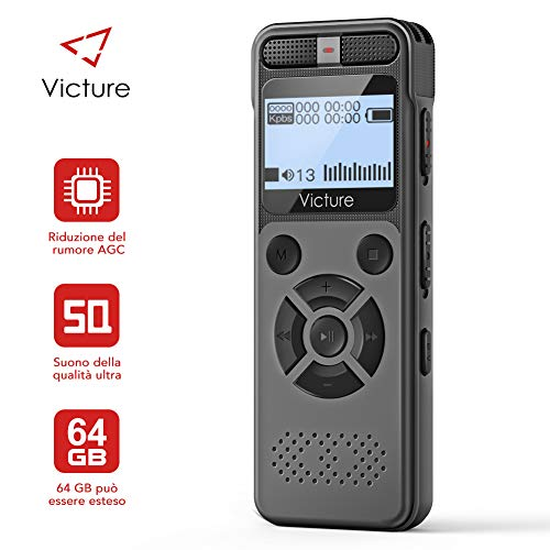 Victure Registratore Vocale Digitale, 8GB 1536 Kbps USB con Lettore MP3, Professionale...