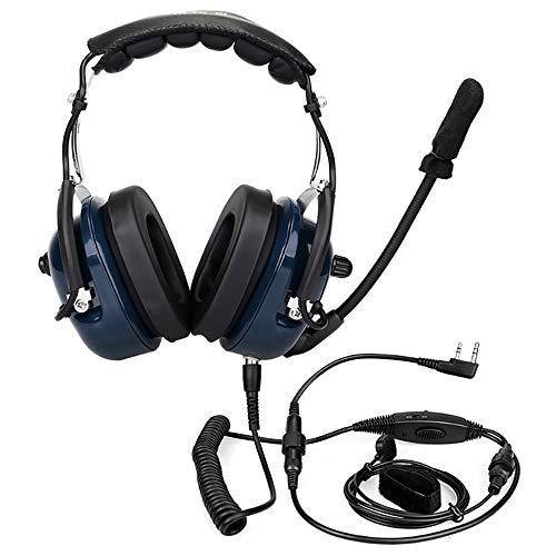 Noise Cancelling Aviation Mikrofon Headset Walkie Talkie Ohrhörer Vox Lautstärkeregelung Ergonomisch hochwertig für Kenwood Baofeng UV-5R Retev - Electronic Noise Cancelling Aviation Headset