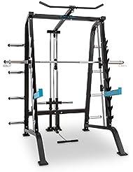 CAPITAL SPORTS Squatster Jaula de sentadillas multifunción (barra de pesas, entrenamiento halterofilia, 9 niveles, soportes seguridad, barra integrada con tracción superior e inferior, armazón acero)