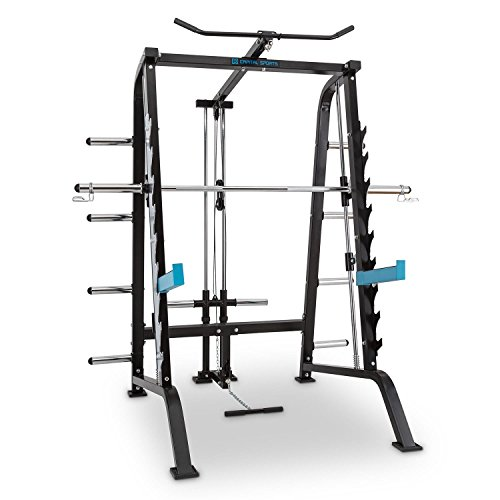 CAPITAL SPORTS Squatster • Squat Power Rack • Multi-Kraftstation • Kraftstation • geführte Langhantelstange • Latzugmaschine • 9 Höhenstufen • 2 x Safety Spotter • Gewicht-Ablage • blau-schwarz