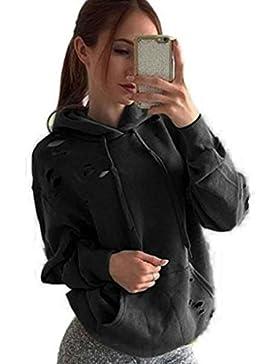 Tongshi Para mujer ocasionales flojas de manga larga con capucha de sudadera Jumper Tops Escudo