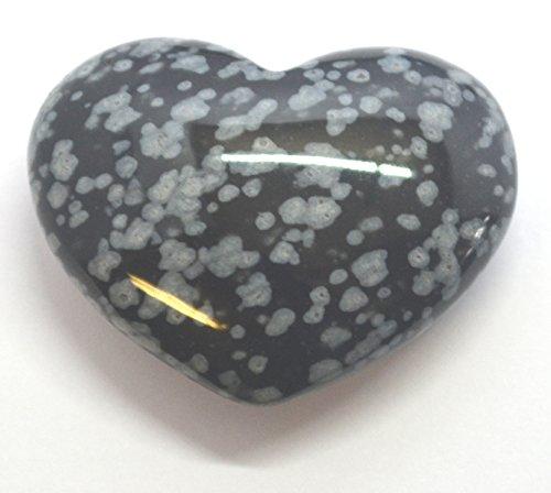 Pietra ossidiana con fiocchi di neve, a forma di cuore, per yin yang, 3 cm, borsa regalo in organza inclusa - Bag Obsidian