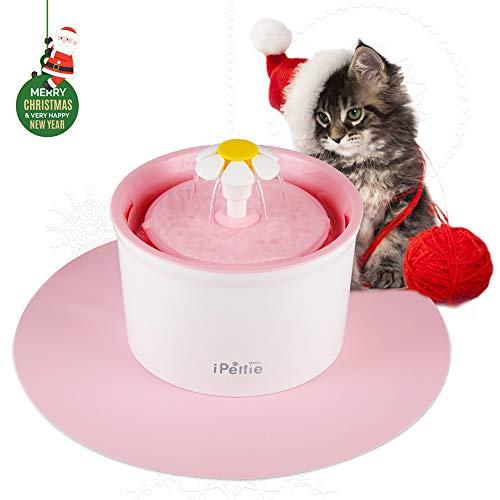 iPettie Neko NS Katzen Trinkbrunnen 2L Automatischer mit Super Ruhiger Pumpe und Austauschbarem Filter, Super Leise Automatischer Elektrischer Wasserspender für Katzen und Hunde (Rosa mit Matte)