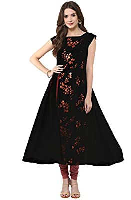 Janasya Women's Black Anarkali Casual Crepe Kurti - Black There might be minor colour variation between actual product and image shown on screen.
