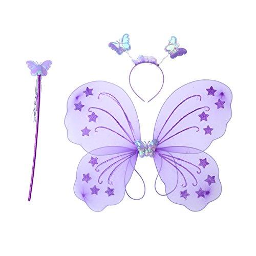 Fancy Kostüm Schmetterling Lila Dress - LUOEM Kinder Mädchen Fee Kostüme Prinzessin Schmetterlingsflügel Stirnband Zauberstab Party Kostüm 3-teiliges Set (lila)
