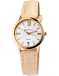 Números romanos reloj color blanco beige oro Fecha Analógico para Mujer  Piel Reloj de pulsera 57c7df9b21b8