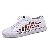 Dongxiong Sports Shoes Men's fashion sneakers air permeability of the two-tone non-slip flat Thailand toe shoes (Color : Whitered, Size : 41 EU)
