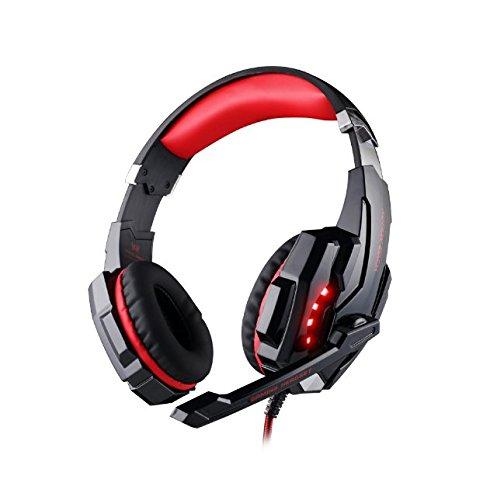 Gaming Kopfhörer PS4, Fozela 7.1 Surround Sound Gaming Headset Kopfhörer mit LED Licht Mikrofon für Playstation 4 PC Tablet Smartphone (Rot)