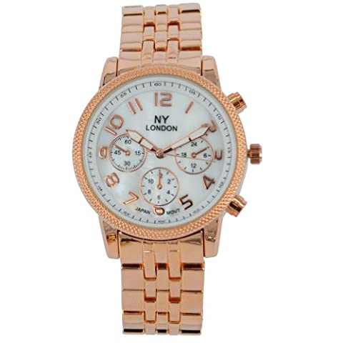 NY London Designer Damenuhr,Damen Strass Uhr in Chronograph Optik,Rosegold,inkl.Geschenkbox/Uhrenboc
