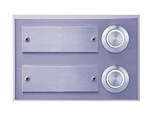 Proventa   Klingeltaster   Klingelknopf   Klingelplatte   Echtmetall   LED beleuchtet   zur Verwendung mit Klingelanlagen, Klingeltaster:Klingeltaster 2-fach weiß beleuchtet