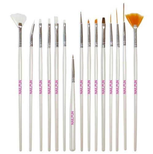 NAILFUN Kit de 15 Pinceaux Blancs pour Nail Art