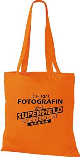 Shirtstown Stoffbeutel Ich bin Fotografin, weil Superheld kein Beruf ist Orange